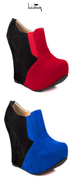 Luichiny Baby Moon Bootie - micro suede fabric upper w two tone geometric design. A back zipper, 5 ½ inch covered wedge heel and 2 inch platform complete this ultra trendy shoe.
