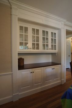 dining room built in cabinets as hutch and wine fridgestorage on the bottom - Dining Room Built Ins