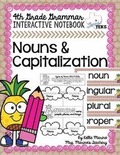 Nouns & Capitalization Grammar Interactive Notebook *FREEBIE* Common And Proper Nouns, Plural Nouns, Interactive Notebooks, Third Grade, Fun Activities, Grammar, Literacy, Writing, School