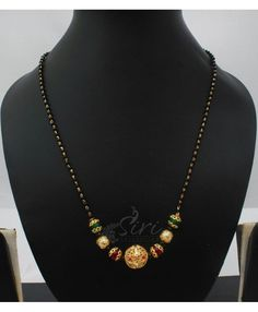 Black beads mangalsutra in onyx and gold ballThe Effective Pictures We Offer You About beaded jewelry ideas A Gold Mangalsutra Designs, Gold Jewellery Design, Beaded Jewelry Patterns, Bead Jewelry, Thread Jewellery, Gold Jewelry Simple, Simple Necklace, Bridal Jewelry, Eminem