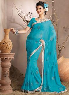 Blue Chiffon Sari.nice border