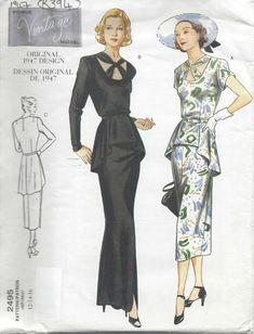 Vogue Vintage Model Original 1947 Design Pattern 2495 Misses Dress & Belt 6 8 10 Vogue Vintage, Moda Vintage, Vintage Models, Vintage Girls, Peplum Gown, Belted Dress, Gown Dress, Vintage Dress Patterns, Vintage Dresses