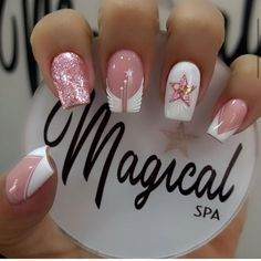 Manicure Nail Designs, Nail Manicure, Gel Nails, Square Nail Designs, Short Nail Designs, Orange Nails, Pink Nails, Simple Nail Art Videos, Witch Nails