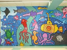 underwater mural More Mural Painting, Mural Art, Wall Murals, Murals Street Art, Beach Mural, School Murals, Murals For Kids, School Painting, Collaborative Art