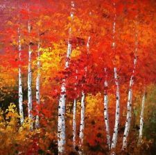 Art Hand-Painted Landscape Silver Birch Tree Oil Painting On Canvas Efh173 Us
