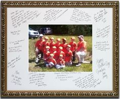 Coach's Gift - Team pic with thank you notes from parents...  would be cool to have the kids in the older divisions sign too.