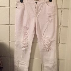 White ripped jeans ! Brand new ! Purchased from Irene's Story never been worn. Size 11  straight leg made in USA Jeans Straight Leg