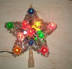 Christmas tree top star  light - lighted tree topper - retro mid century silver tinsel star
