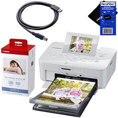 "Canon SELPHY CP910 Portable Wireless Compact Color Photo Printer (White) + Canon KP-108IN Color Ink Paper Set (Produces up to 108 of 4 x 6"" prints), USB Printer Cable + HeroFiber® Ultra Gentle Cleaning Cloth"