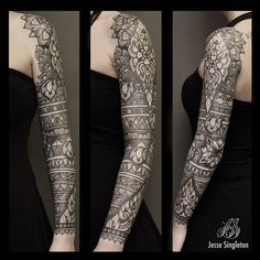 Jesse Singleton tattoos at Scratchline Tattoo, Kentish Town, London He specialises in the following styles and images - Henna, Mandala, Tribal, Blackwork, Black and Grey, Patternwork, Full Sleeve, Full Leg tattoo, Large scale, Geometric, Birds and Flowers, Natural Organic Shapes patternwork