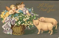 Свинки - старинные новогодние открытки и эротика