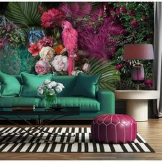 Parrot Wallpaper Floral Wall Mural Colorful Peony Flower Wall Print Tropcai Home Decor Cafe Design Living Room Living Room Green, Living Room Decor, Bedroom Green, Living Rooms, Bold Living Room, Bedroom Wall, Living Spaces, Bedroom Decor, Room Colors