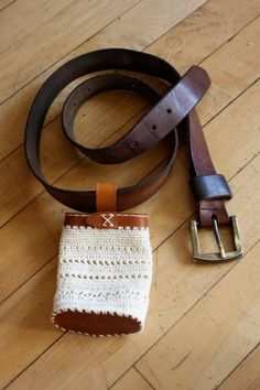 Eccentric Crochet and Leather Belt Pouch for All door SmallSpool