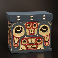 "Ocean Bentwood Box (9""x10.5""x7"") - TJ Young (Haida) Native Art, Native American Art, Pacific West, Pacific Northwest, Haida Art, Aboriginal Artists, Inuit Art, Cool Art, Awesome Art"
