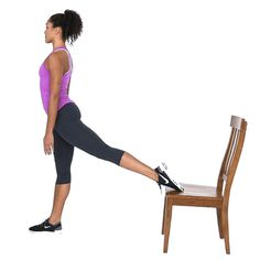Bulgarian split squat  = Make sure front foot and knee are facing forward, keep torso upright, squat until front knee is about 90º or as deep as comfortable