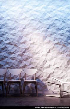 The texture on the interior wall is able to provide aesthetic value. Textured surface walls will look different from flat and plain wall surfaces. Textured walls are considered more unique and more… Interior Walls, Interior And Exterior, Modern Interior, Design Hotel, House Design, Textures Murales, Wall Finishes, Acoustic Panels, Deco Design