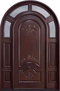 Mahogany Solid Wood Front Door - Double with 2 Sidelites