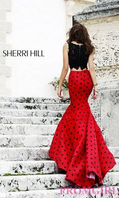 Prom Dresses, Plus Size Dresses, Prom Shoes -PromGirl : Long Two Piece Polka Dot Dress