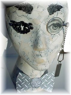 styrofoam head painting | covered one of those Styrofoam heads with torn music paper and gel ...