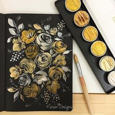 Metallic watercolor florals with Finetec ✨ Gold Watercolor, Watercolor Design, Watercolor Cards, Watercolor Illustration, Watercolour Painting, Watercolor Flowers, Watercolors, Watercolor Ideas, Watercolor Artists