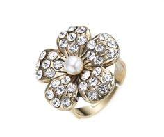 Women's Faux Pearl & Crystal Flower Statement Ring  A beautiful fashion ring made from alloy in a gold colour finish with a central faux pearl surrounded by crystal stones on the petals. A perfect gift for her or why not treat yourself?  First class UK delivery is free and orders are usually dispatched within two working days.  Other delivery options are available including cheap EU shipping.  Size: ring band is adjustable, flower is approx 2.2cm Materials: Alloy with antique gold fin...
