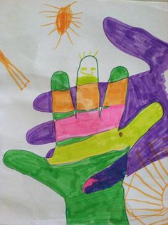 Make a fun piece of art with your child! Just trace your toddler's hand on a piece of paper and then trace your hand over it. Then color in the different sections to make a nice piece of art.…
