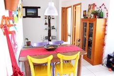 Colorful dining room and living room in Brasil...