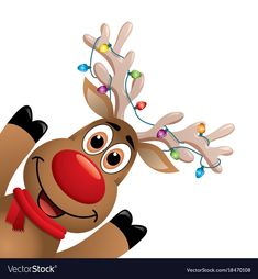 b3c2281aa vector xmas drawing of funny red nosed reindeer. cartoon rudolph deer with  red scarf and christmas lights on big horns