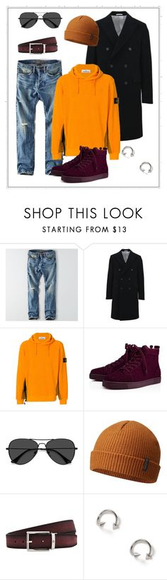 """""""First men's outfit!"""" by salsafar ❤ liked on Polyvore featuring American Eagle Outfitters, Calvin Klein, STONE ISLAND, Christian Louboutin, EyeBuyDirect.com, Columbia, Montblanc, Topman, men's fashion and menswear"""