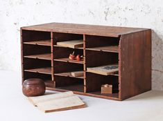 An original Japanese vintage pigeon hole cabinet which Scaramanga was recently fortunate enough to source from Japan. Home Furnishing Accessories, Living Room Accessories, Home Accessories, Leather Accessories, Hallway Storage, Cupboard Storage, Vintage Furniture, Home Furniture, Living Room Bookcase
