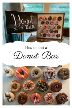 A DIY donut bar is always a big hit at graduation parties, weddings, and more. And check out the DIY cakes stands and DIY donut bags as final touches. Diy Donut Bar, Diy Donuts, Donut Party, Crockpot Party Food, Easy Party Food, Party Snacks, Graduation Food, Graduation Parties, High School Crafts