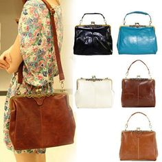 Europe Retro Vintage Ladies Shoulder Purse Handbag Totes PU Leather Women Bag #Vogue #Fashion