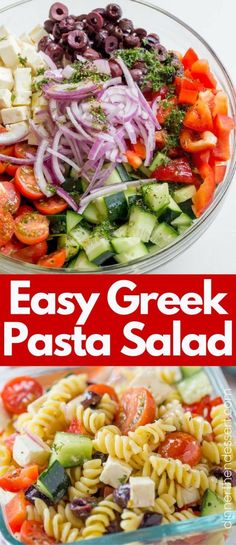 Easy Greek Pasta Salad with a homemade vinaigrette, pasta, feta, and olives is the perfect, easy lunch meal you can enjoy at room temperature. Also great with added chicken or shrimp. (dinner ideas with chicken and pasta) Side Dish Recipes, Lunch Recipes, Vegetarian Recipes, Dinner Recipes, Cooking Recipes, Healthy Recipes, Cooking Tips, Dinner Ideas, Side Dishes