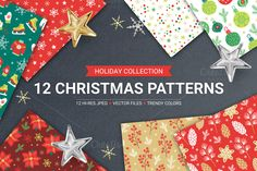 12 Christmas Seamless Patterns by miumiu on Creative Market