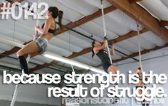 Strength is the result of struggle! And I get my strength from the stair master or the elliptical - not those ropes LOL!