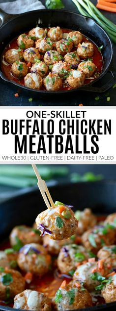 One-Skillet Buffalo Chicken Meatballs | whole30 appetizers | whole30 recipes | gluten-free appetizers | dairy-free appetizers | paleo appetizers | healthy meatball recipe || The Real Food Dietitians #whole30recipe #healthymeatballs #paleorecipe Dairy Free Appetizers, Healthy Appetizers, Appetizer Recipes, Avacado Appetizers, Prociutto Appetizers, Mexican Appetizers, Halloween Appetizers, Delicious Appetizers, Recipes Dinner