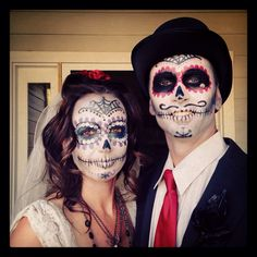 Day of the Dead Bride and Groom - Halloween Costume - make up by Lacey Utter Horse Costumes, Witch Costumes, Group Halloween Costumes, Disney Costumes, Halloween Themes, Group Costumes, Halloween Bride, Halloween Labels, Costumes