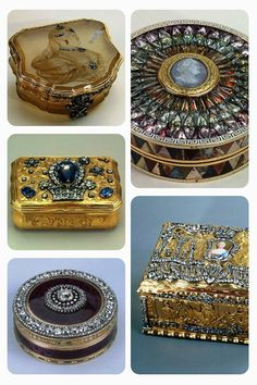 Russian Snuff Boxes from the 1700s. The boxes contained powdered tobacco, and were often enameled, bejeweled, engraved or otherwise made very ornate. #EuropeanAntiques #SnuffBox