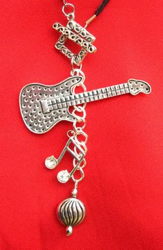Guitar Musical Charm Cluster Necklace Jewelry by britpoprose99, $9.99