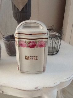 Kaffeedose Dose  Shabby Rosen weiß