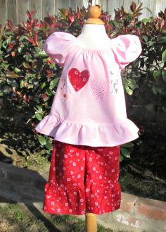 Girls Valentine's Day Outfit Baby Toddler Pink by TootandPuddle, $30.00