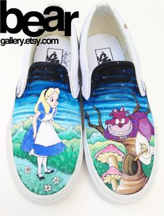 06f38a696b Custom Vans- Alice in Wonderland.... I want!! Painted Canvas