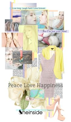 """SHEINSIDE - PEACE LOVE HAPPINESS"" by brittneybell ❤ liked on Polyvore"