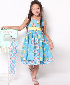 Take a look at this Teal & Pink Up Up Away Katy Dress - Infant, Toddler & Girls by Jelly the Pug on #zulily today!