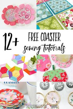 fabric coaster tutorials Modern, scrap busting sewing ideas with this fun list of free coaster sewing tutorials. Great beginner sewing projects that use up scraps, coasters are fun to sew and great first quilt projects. Easy Sewing Projects, Sewing Projects For Beginners, Quilting Projects, Sewing Hacks, Sewing Tutorials, Sewing Tips, Sewing Ideas, Fabric Coasters, Felt Bunny