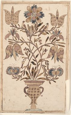 Drawing (Vase with Flowers and Birds) - Fraktur