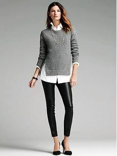 Marled Zip-Hem Boyfriend Sweater with faux leather leggings and long oxford | Banana Republic