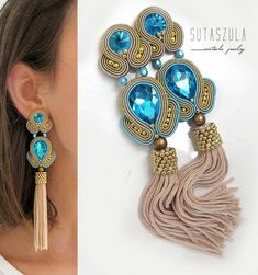 Crystal Anniversary Jewelry for Wife, Orange Crystal Earrings, Unique Gemstone and Sterling Jewelry - Fine Jewelry Ideas Gold Tassel Earrings, Soutache Earrings, Tassel Jewelry, Unique Earrings, Flower Earrings, Crystal Earrings, Statement Earrings, Jewelry Gifts, Fine Jewelry