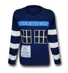 The 100% acrylic Doctor Who Women's Boyfriend Tardis Sweater will not help the ladies span time and space while getting into all sorts of adventures. It will, however, allow one to don the likeness of the good Doctor's favored vessel-home. I bet he lives out of that TARDIS just to avoid paying property tax would be my guess. Soft and 'cheeky', the Doctor Who Women's Boyfriend Tardis Sweater is made for the ladies but has that 'boyfriend sweater' style that seems to be popular these days…