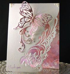 Thank You Anna 2019 designed and created by Peggy Dollar Butterfly Birthday Cards, Butterfly Cards, Flower Cards, Handmade Birthday Cards, Greeting Cards Handmade, 123 Cards, Wings Card, Stampin Up Karten, Spellbinders Cards